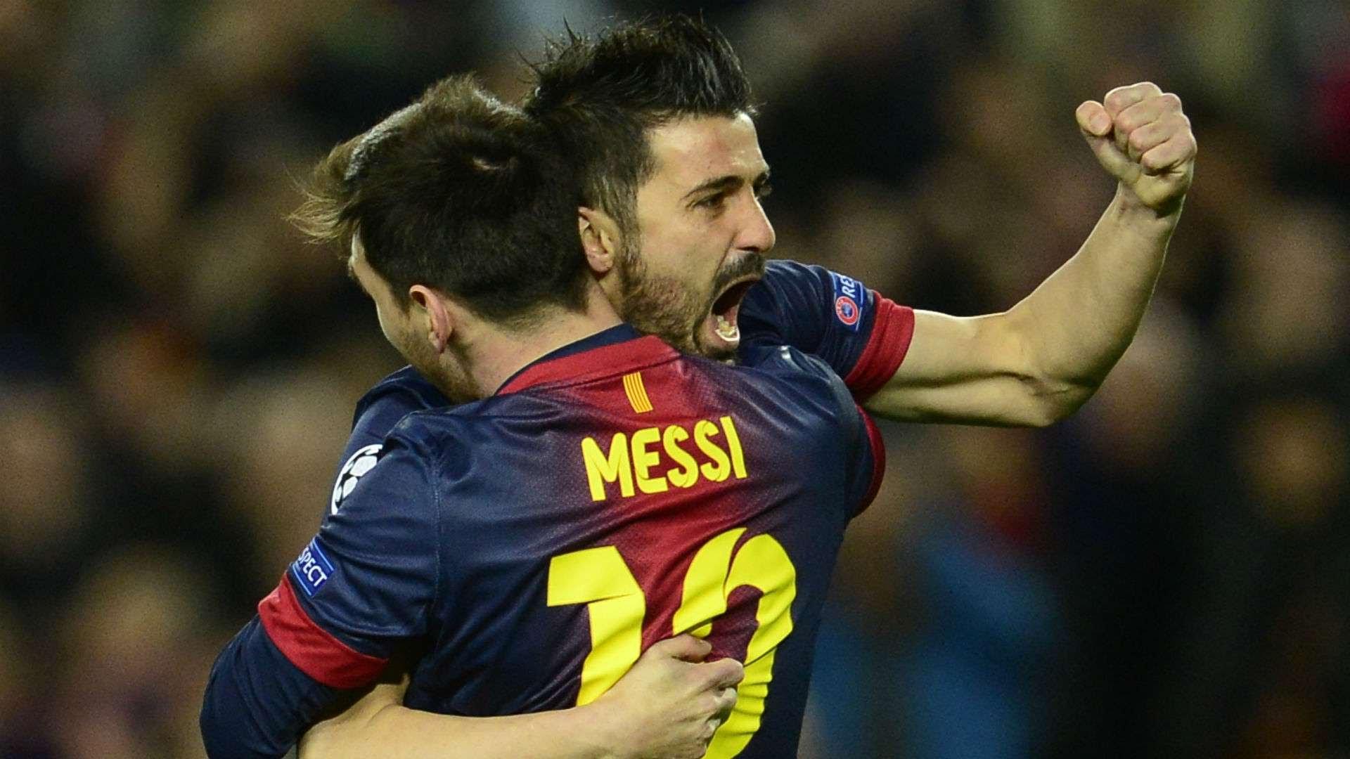 David Villa Lionel Messi Barcelona